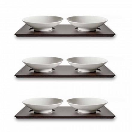 Serviço de xícaras com bandeja de madeira Design elegante moderno 9 peças - Flavia