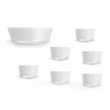 Conjunto de copos e tigela de porcelana branca de design moderno 7 peças - Ártico