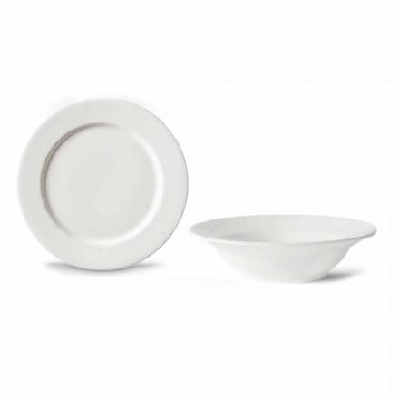 Serviço de Sobremesa 6 Taças e 6 Pires Design em Porcelana Branca - Samantha
