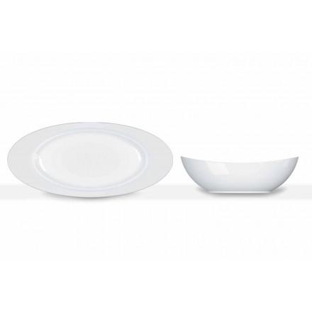 Conjunto de servir 2 peças com design moderno em porcelana branca oval - telescópio