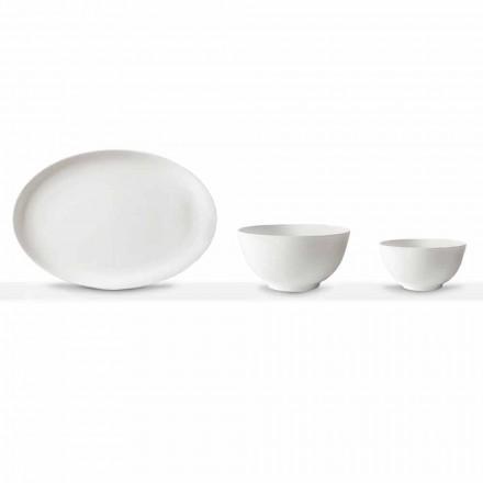 Conjunto de servir de porcelana branca Prato e tigela oval 10 peças - Romilda