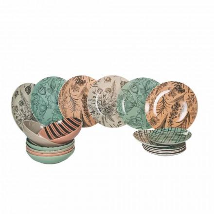 Mesa Completa Pratos em Porcelana Colorida 18 Peças - Ballet