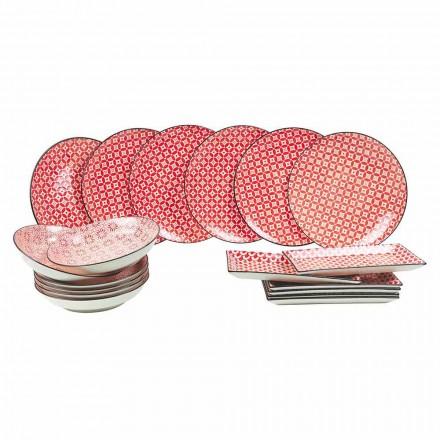 Pratos de serviço completo de mesa em grés moderno 18 peças - cochonilha