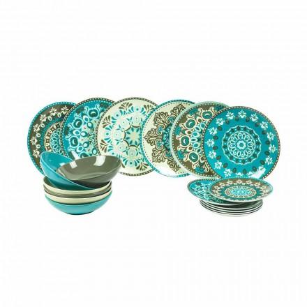 Conjunto de Talheres de Porcelana de Cor Azul 18 Peças - Eivissa