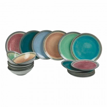 Pratos de serviço de mesa em grés colorido moderno completos 18 peças - Nassau