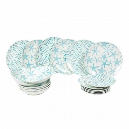 Pratos de Mesa em Porcelana Branca e Azul Claro 18 Peças - Cozumel