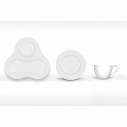 Conjunto de Chá Completo Design Moderno em Porcelana Branca 14 Peças - Telescópio