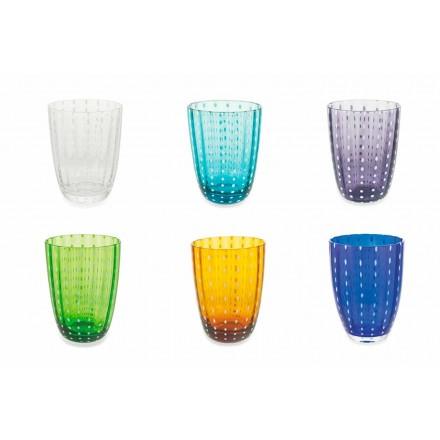Conjunto de 12 copos de vidro colorido moderno para água - Botsuana
