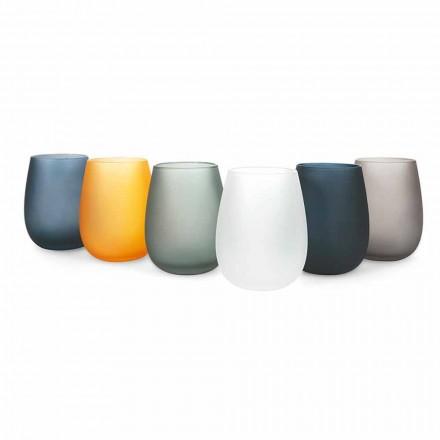 Conjunto moderno de copos de água de vidro colorido, 12 peças - aro
