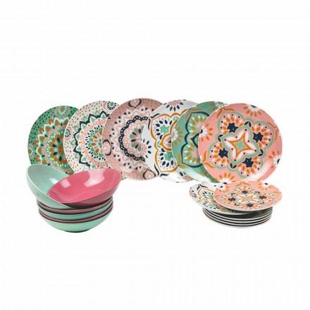 Conjunto de talheres coloridos em porcelana 18 peças - Playasol