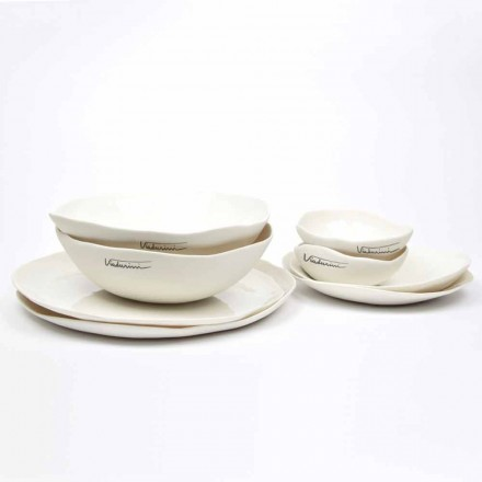 Serviço de pratos de porcelana branca de 24 peças com design luxuoso - Arciregale