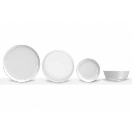 Conjunto 24 peças de porcelana com design moderno branco - Ártico
