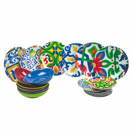 Conjunto de Pratos Modernos e Coloridos em Grés e Porcelana 18 Peças - Ciclade