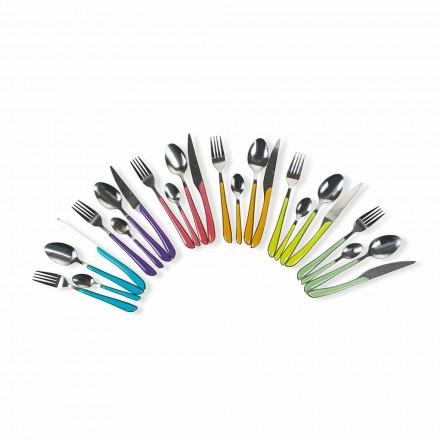 Serviço de talheres coloridos 24 peças em aço e plástico - Argélia