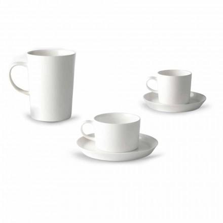 Serviço de Chávenas Café, Chá e Café da Manhã 30 Peças em Porcelana Branca - Egle