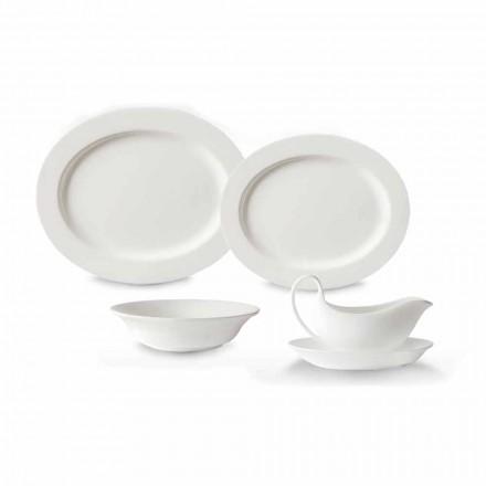 Conjunto de Pratos de Serviço de 4 Peças em Porcelana Branca de Design - Samantha