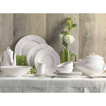 Conjunto de 27 pratos elegantes de porcelana branca - Gimignano