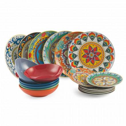 Pratos Coloridos Conjunto 18 Peças Porcelana e Grés - Renaissance