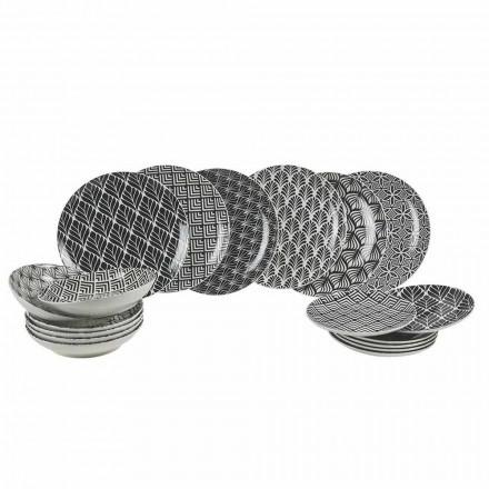 Conjunto Jantar Completo em Porcelana Moderna e Decorada 18 Peças - Stilotto