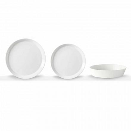 Conjunto de pratos de jantar de 18 peças em porcelana branca com design elegante - Egle