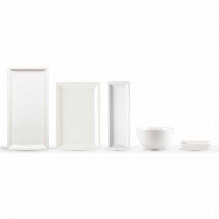 Pratos modernos de porcelana branca conjunto 25 peças - basal