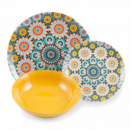 Pratos étnicos coloridos conjunto de porcelana e faiança 18 Mad - Marrocos