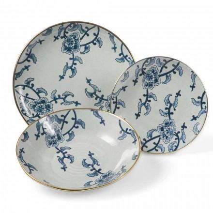 Jogo de Louça em Porcelana Azul e Branca Modernas 18 Peças - Kyushu