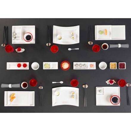 Conjunto de pratos de porcelana retangular de design moderno 25 peças - Melbourne