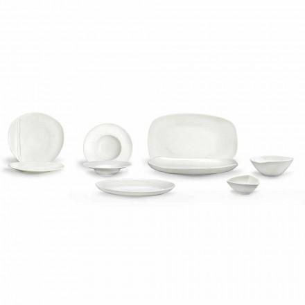 Louça de Porcelana Branca Conjunto 23 Peças Design Moderno e Elegante - Nalah