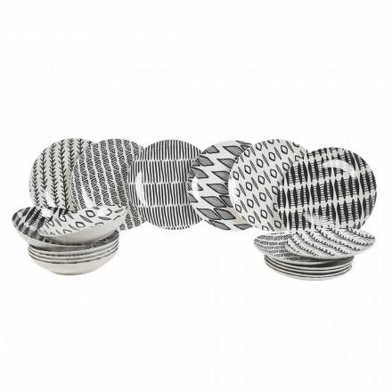 Conjunto de louças de porcelana preta e branca de design elegante com 18 peças - Tanzânia