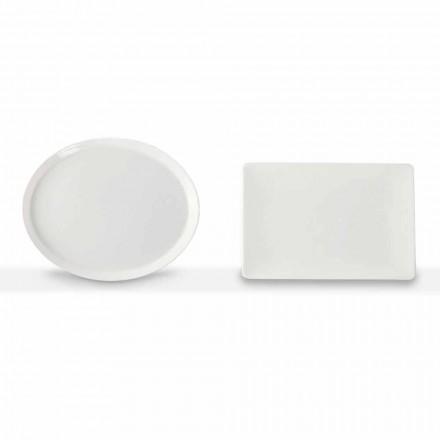 Conjunto de Pratos de Jantar Oval e Retangular Design 3 Peças em Porcelana - Egle