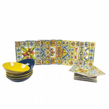 Conjunto de Pratos Quadrados Coloridos Modernos em Porcelana 18 Peças - Verão