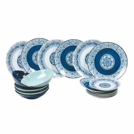 Pratos modernos de porcelana e serviço de mesa completos 18 peças - Ravello