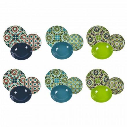 Mesa Pratos de Serviço de Porcelana e Grés Moderno Colorido 18 Peças - Celeiros