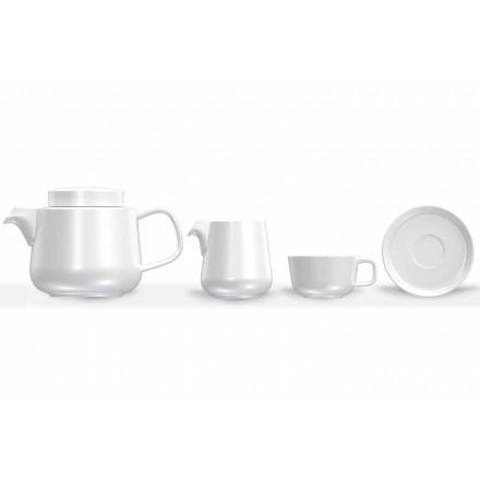 Serviço de xícara e pires de porcelana, bule de porcelana e jarro de leite 14 peças - Ártico