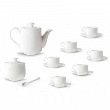 Conjunto de Chávena de Café em Porcelana Branca Empilhável 15 Peças - Samantha