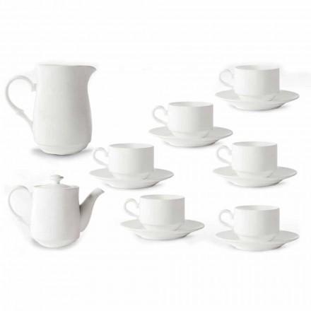 Serviço de xícaras cappuccino de porcelana branca 14 peças para o café da manhã - Samantha