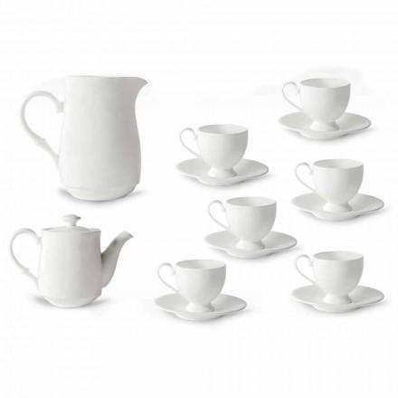 Serviço de Copos Cappuccino com Pé 14 Peças em Porcelana Branca - Armanda