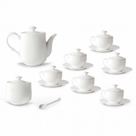Conjunto de xícaras de chá de porcelana branca 21 peças com tampa - Samantha