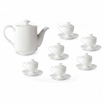 Serviço de Chávenas Café com Pé e Tampa 19 Peças em Porcelana - Armanda