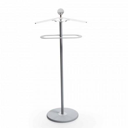 Stand de design moderno Fedor, metal pintado de cinza e detalhes cromados
