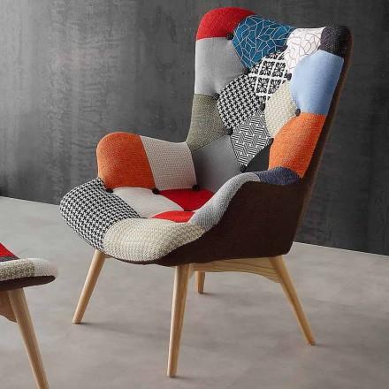 Poltronas de retalhos multi moderno Veronica colorido, pernas de madeira maciça