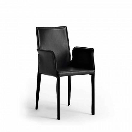 Conjunto de 2 cadeiras de couro modernas Jolie Made in Italy