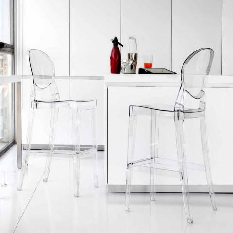 Conjunto de 2 banquetas de design moderno Bosa, feito de policarbonato transparente