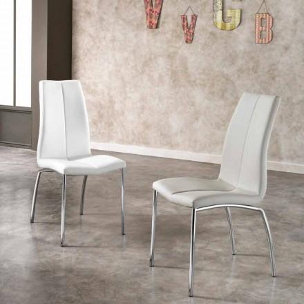 Conjunto de 4 cadeiras de couro ecológico e cromado Alba, design moderno