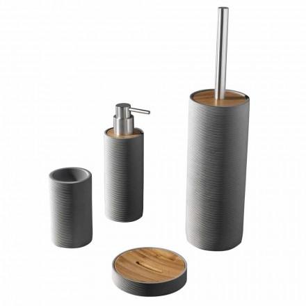 Conjunto de acessórios de banheiro de bancada em branco ou cinza - resina Fox