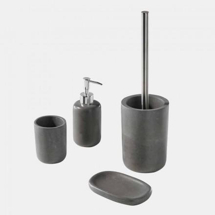 Conjunto de acessórios para banheiro autônomo em resina cinza - Pailette
