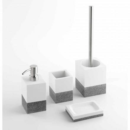 Conjunto de acessórios de banheiro de grife em resina branca e cinza - Saeda