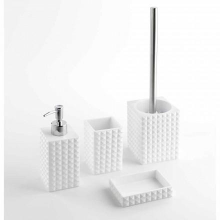 Conjunto de acessórios modernos de banheiro em resina branca ou areia - pérolas