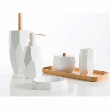 Conjunto de acessórios de casa de banho de design em madeira e resina Rivalba